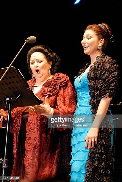 Soprano Montserrat Caballe and her daughter Montserrat Marti performs for The Children for Peace at Hotel Puente Romano on June 23 2012 in Marbella...
