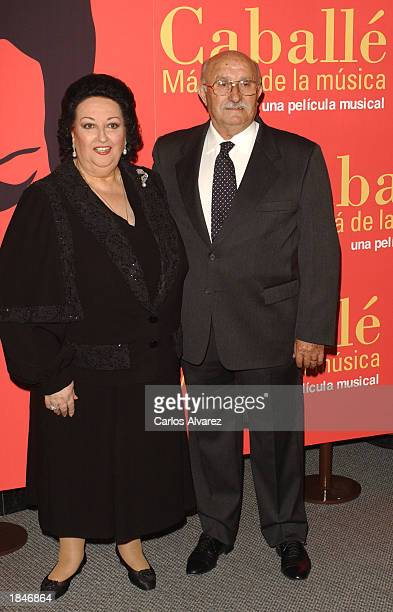 Soprano Montserrat Caballe and her husband Bernabe Marti attend the premiere of Caballe Beyond Music a musical documentary film about her life at...