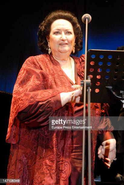 Soprano Montserrat Caballe performs for The Children for Peace at Hotel Puente Romano on June 23 2012 in Marbella Spain