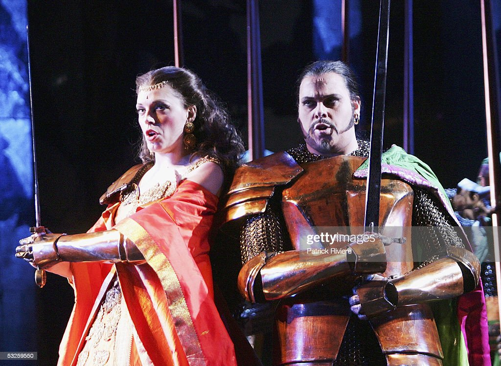Soprano Rachelle Durkin (Armida) and Richard Alexander (Argante) perform during a dress rehearsal of Handel's 'Rinaldo' at the Opera House on July 19, 2005 in Sydney, Australia.