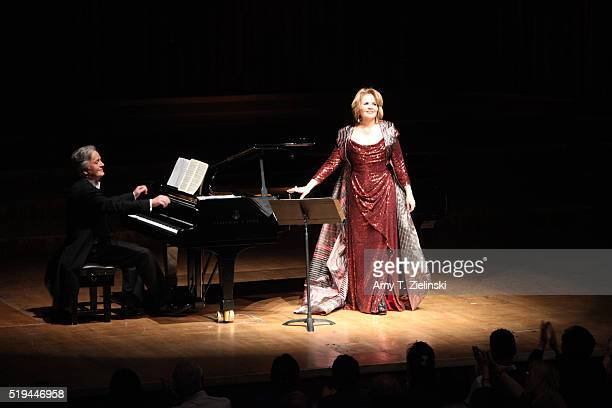 Soprano Renee Fleming is accompanied by Hartmut Holl on piano singing works by composers Schumann Rachmaninov Barber and Strauss in recital as part...