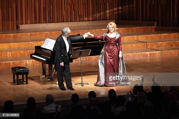 Soprano Renee Fleming receives the audience after she was accompanied by Hartmut Holl on piano singing works by composers Schumann Rachmaninov Barber...
