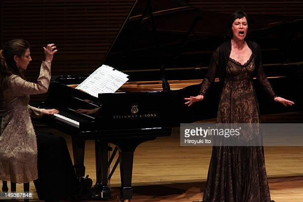 Soprano Sandrine Piau accompanied by pianist Susan Manoff performing songs by Mendelssohn Faure Chausson Strauss Bouchot Poulenc and Britten at...