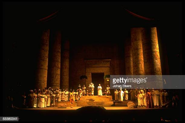 Soprano Sharon Sweet singing the title role in scene from Verdi's 'Aida' on stage at the Metropolitan Opera
