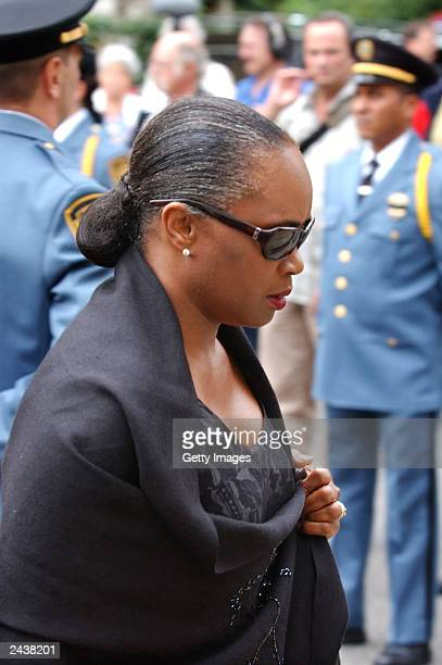 S soprano singer and UNHCR's Honorary Lifetime Goodwill Ambassador Barbara Hendricks attends the funeral ceremony for UN especial envoy to Iraq...