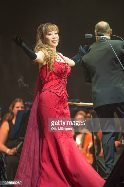 Soprano Sumi Jo performs onstage as a guest of Andrea Bocelli at The O2 Arena on November 2 2018 in London England