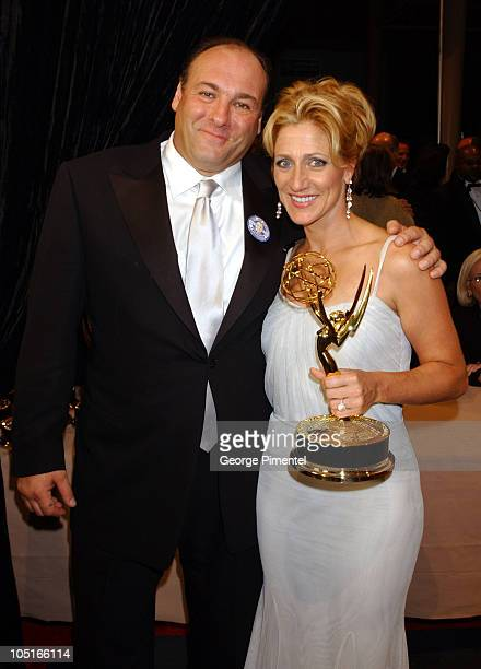 'Sopranos' stars James Gandolfini and Edie Falco pose with their Emmy Awards for Outstanding Lead Actress and Actor in a Drama Series