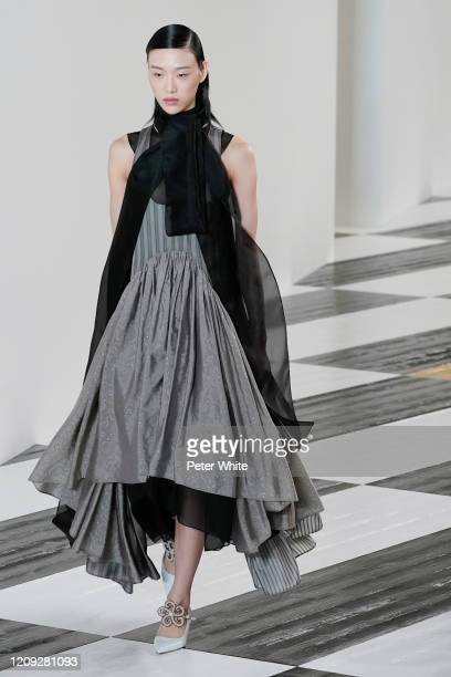 Sora Choi walks the runway during the Loewe show as part of the Paris Fashion Week Womenswear Fall/Winter 2020/2021 on February 28, 2020 in Paris,...