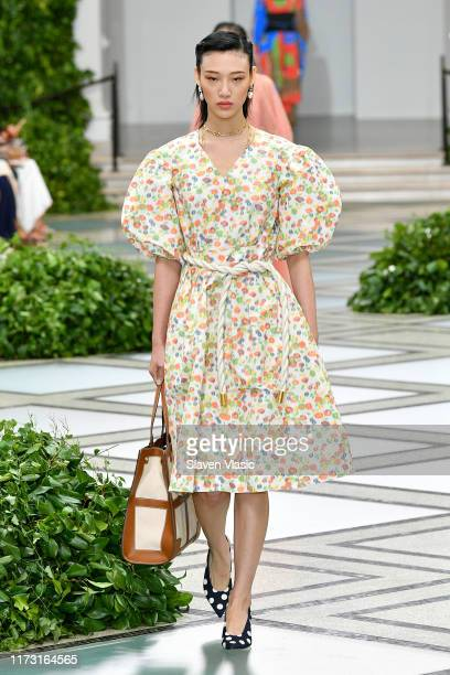 Sora Choi walks the runway during Tory Burch NYFW SS20 at the Brooklyn Museum on September 08, 2019 in Brooklyn City.