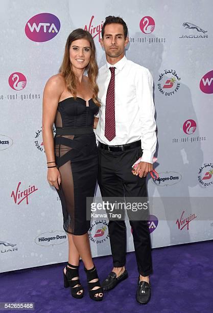 Sorana Cirstea and Santiago Giraldo arrive for the WTA PreWimbledon Party at Kensington Roof Gardens on June 23 2016 in London England