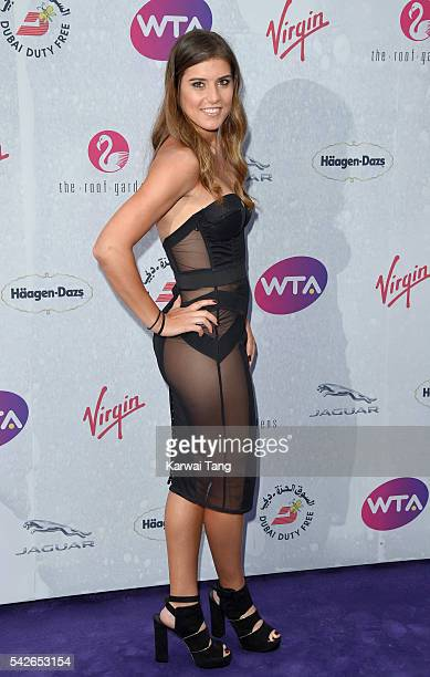 Sorana Cirstea arrives for the WTA PreWimbledon Party at Kensington Roof Gardens on June 23 2016 in London England