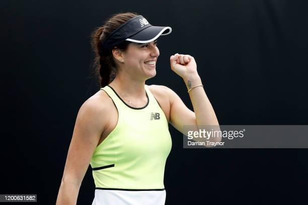 Sorana Cirstea of Romania celebrate victory following her Women's Singles first round match against Barbora Strycova of Czech Republic on day one of...