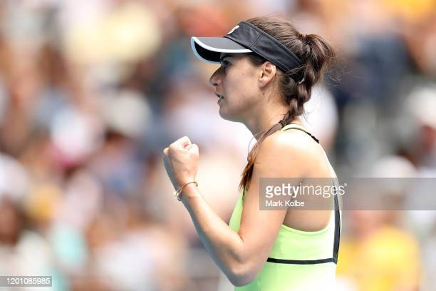 Sorana Cirstea of Romania celebrates after winning a point during her Women's Singles second round match against Coco Gauff of the United States on...