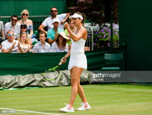 Sorana Cirstea of Romania celebrates against Evgeniya Rodina of Russia in the second round of the Ladies Singles at the All England Lawn Tennis and...