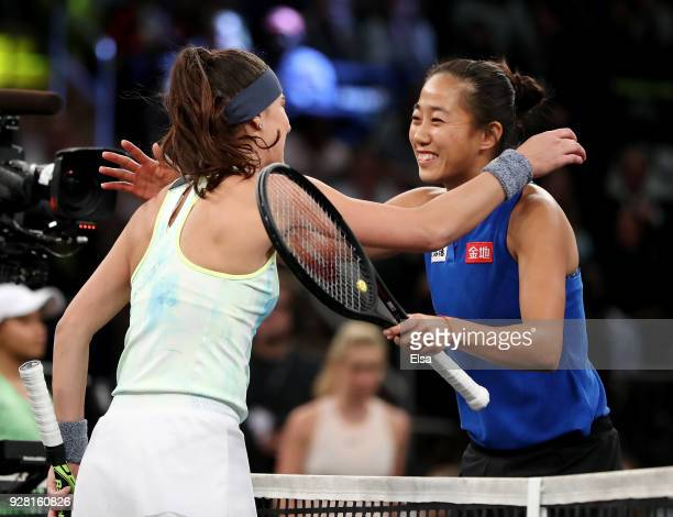 Sorana Cirstea of Romania congratulaes Shuai Zhang of China after their match during the Tie Break Tens at Madison Square Garden on March 5 2018 in...