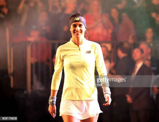 Sorana Cirstea of Romania enters the court during player introductions during the Tie Break Tens at Madison Square Garden on March 5 2018 in New York...