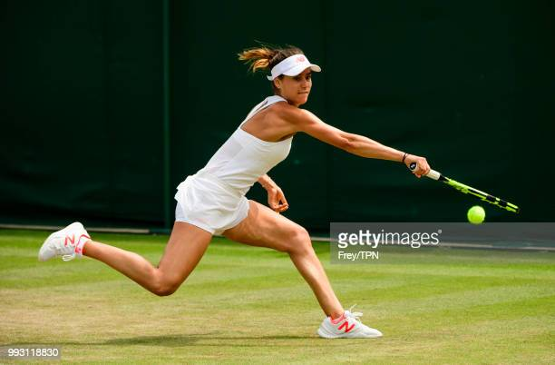 Sorana Cirstea of Romania in action against Evgeniya Rodina of Russia in the second round of the Ladies Singles at the All England Lawn Tennis and...