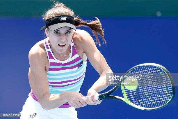 Sorana Cirstea of Romania plays a backhand in her match against Destine Aiava of Australia during day three of the 2019 Kooyong Classic at the...
