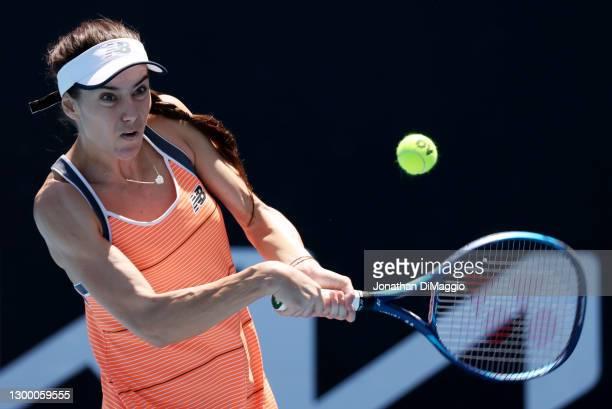 Sorana Cirstea of Romania plays a backhand in her match against Oksana Kalashnikova of Georgia during day one of the WTA 500 Grampians Trophy at...