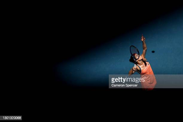 Sorana Cirstea of Romania plays a backhand in her Women's Singles second round match against Petra Kvitova of Czech Republic during day three of the...