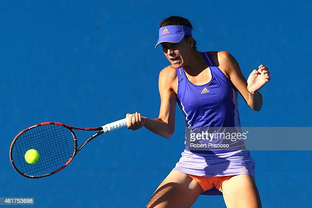 Sorana Cirstea of Romania plays a forehand in her first round match against Alexandra Panova of Russia during day one of the 2015 Australian Open at...