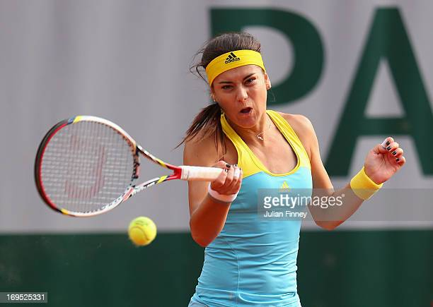 Sorana Cirstea of Romania plays a forehand in her Singles match against Kiki Bertens of Netherlands during day one of the French Open at Roland...