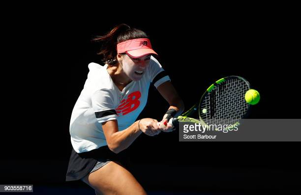 Sorana Cirstea of Romania plays a shot during a practice session ahead of the 2018 Australian Open at Melbourne Park on January 11 2018 in Melbourne...