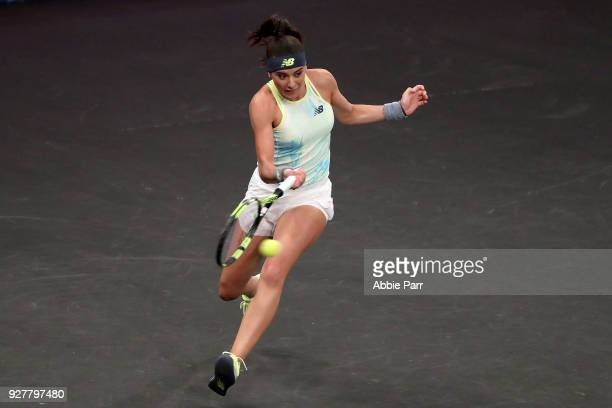 Sorana Cirstea of Romania plays against Shuai Zhang in the first round during the Tie Break Tens at Madison Square Garden on March 5 2018 in New York...
