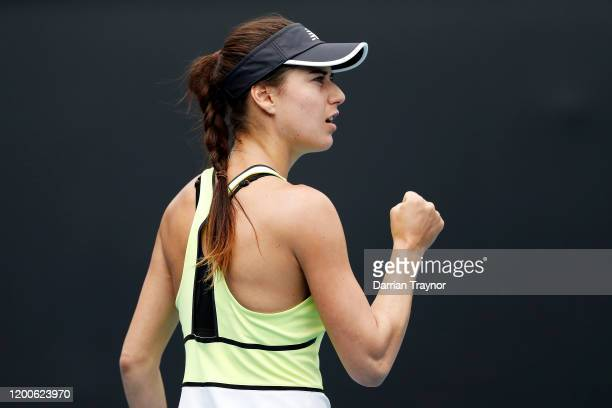 Sorana Cirstea of Romania reacts during her Women's Singles first round match against Barbora Strycova of Czech Republic on day one of the 2020...
