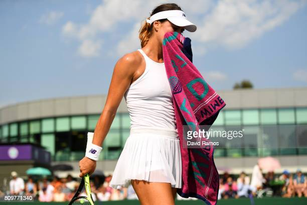 Sorana Cirstea of Romania reacts during the Ladies Singles second round match against Bethanie MattekSands of The United States on day four of the...