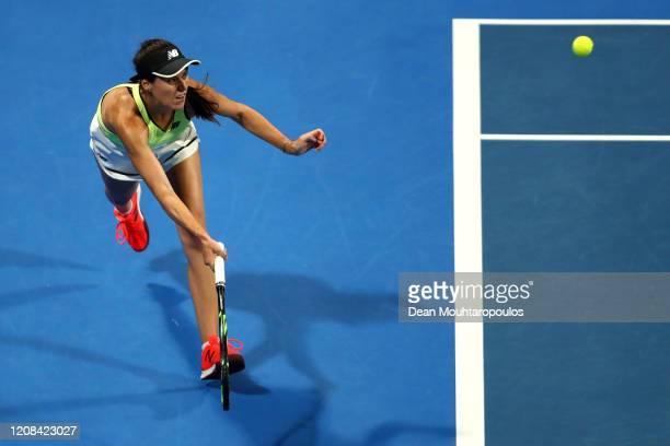 Sorana Cirstea of Romania returns a forehand against Elena Rybakina of Kazakhstan during Day 2 of the WTA Qatar Total Open 2020 at Khalifa...