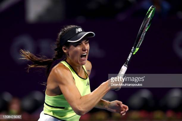 Sorana Cirstea of Romania returns a forehand against Elena Rybakina of Kazakhstan during Day 2 of the WTA Qatar Total Open 2020 at Khalifa...