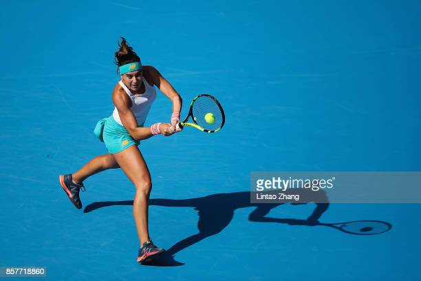 Sorana Cirstea of Romania returns a shot against Karolina Pliskova of the Czech Repubic during the Women's singles 3rd round on day six of 2017 China...