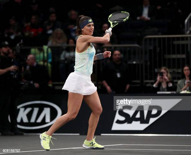 Sorana Cirstea of Romania returns a shot during the Tie Break Tens at Madison Square Garden on March 5 2018 in New York City