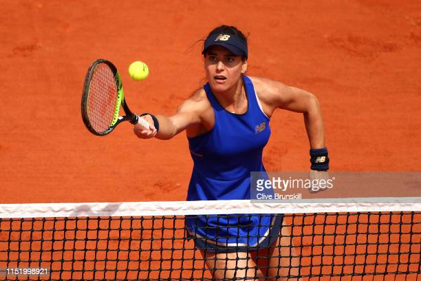 Sorana Cirstea of Romania returns during her ladies singles first round match against Kaja Juvan of Slovenia during Day two of the 2019 French Open...