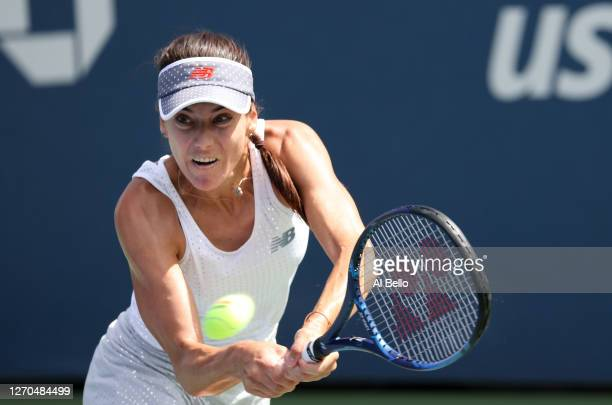 Sorana Cirstea of Romania returns the ball during her Women's Singles second round match against Johanna Konta of Great Britain on Day Four of the...