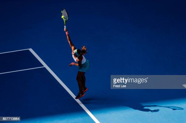 Sorana Cirstea of Romania serves against Karolina Pliskova of Czech Repubic during the Women's singles third round on day six of 2017 China Open at...