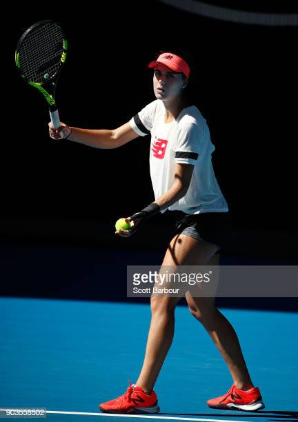 Sorana Cirstea of Romania serves during a practice session ahead of the 2018 Australian Open at Melbourne Park on January 11 2018 in Melbourne...