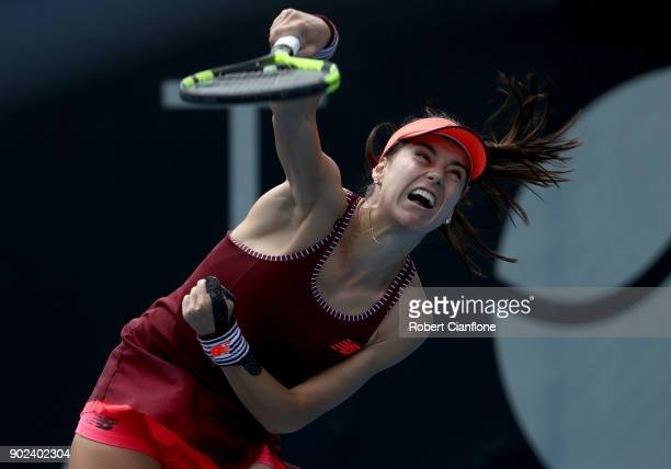 Sorana Cirstea of Romania serves during her singles match against Heather Watson of Great Britain during the 2018 Hobart International at Domain...