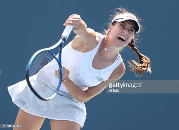 Sorana Cirstea of Romania serves the ball during her Women's Singles second round match against Johanna Konta of Great Britain on Day Four of the...