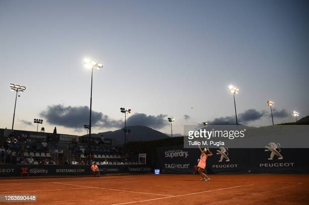 Sorana Cirstea of Romania serves to Sara Errani of Italy during the 31st Palermo Ladies Open - Day One on August 03, 2020 in Palermo, Italy.