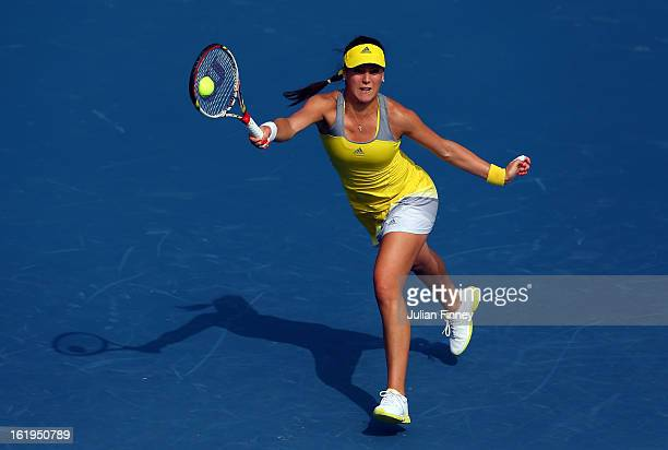 Sorana Cirstea of Romania stretches for a forehand in her match against Sloane Stephens of USA during day one of the WTA Dubai Duty Free Tennis...
