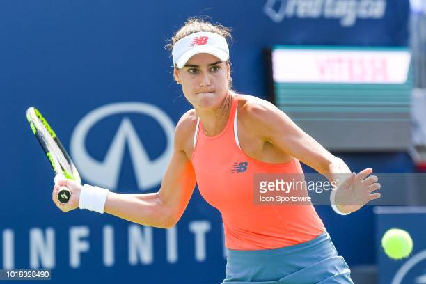 Sorana Cirstea returns the ball during her second round match at WTA Coupe Rogers on August 9 2018 at IGA Stadium in Montréal QC