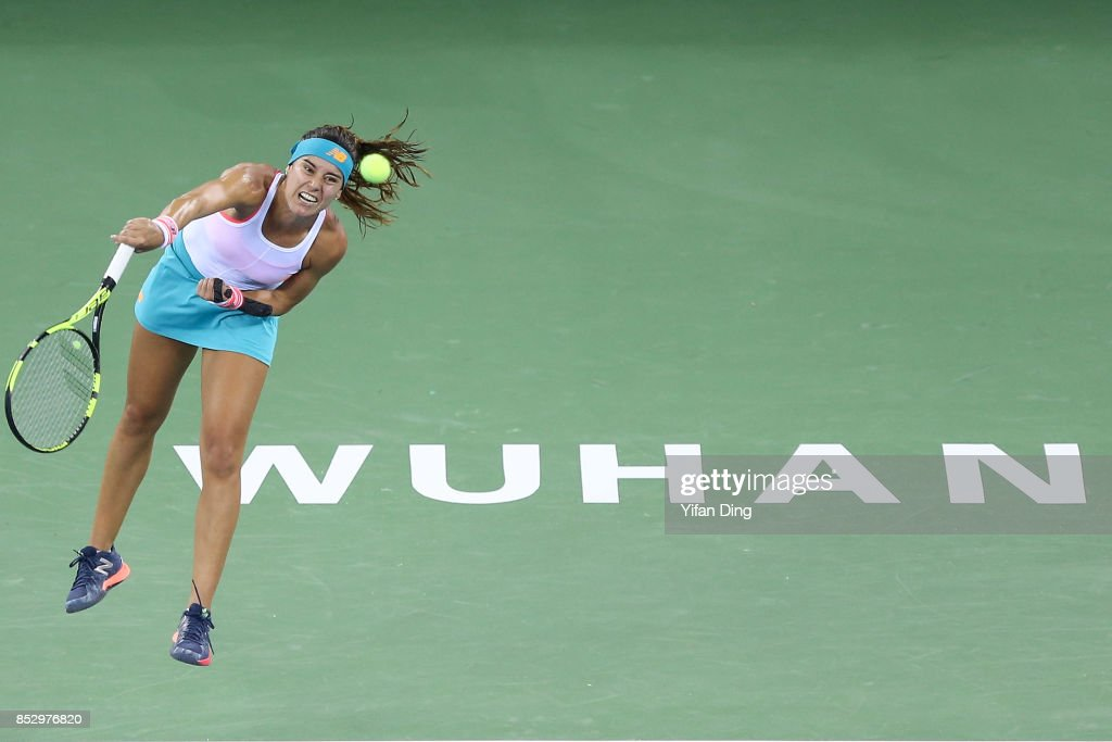 Sorana Cirstea serves during the match against Wang Yafan on Day 1 of 2017 Dongfeng Motor Wuhan Open at Optics Valley International Tennis Center on September 24, 2017 in Wuhan, China.