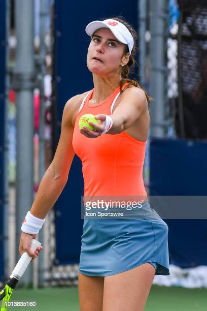 Sorana Cirstea serves the ball during her first round match at WTA Coupe Rogers on August 7 2018 at IGA Stadium in Montréal QC