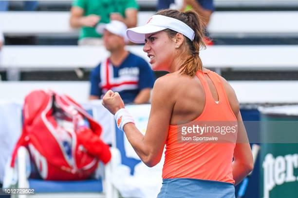 Sorana Cirstea shows pride after scoring a point during her first round match at WTA Coupe Rogers on August 7 2018 at IGA Stadium in Montréal QC