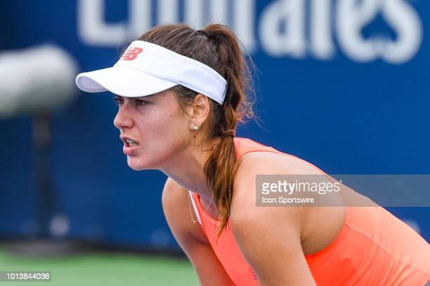 Sorana Cirstea waits for service during her first round match at WTA Coupe Rogers on August 7 2018 at IGA Stadium in Montréal QC