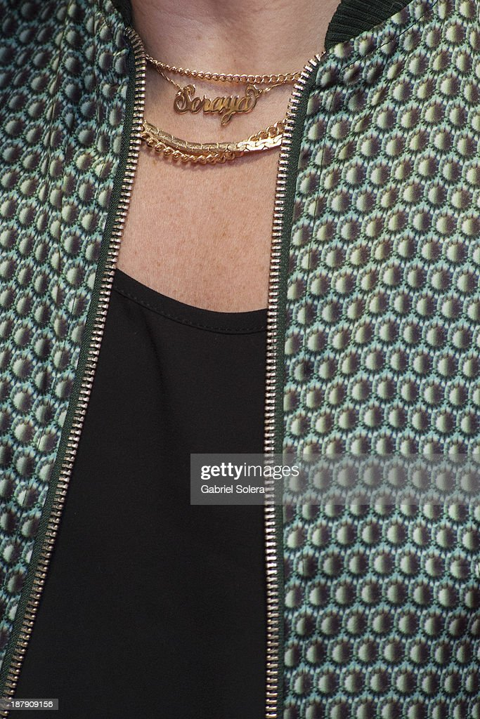 Soraya Arnelas (necklace detail) presents Lipomorosil at El Corte Ingles Store on November 13, 2013 in Madrid, Spain.