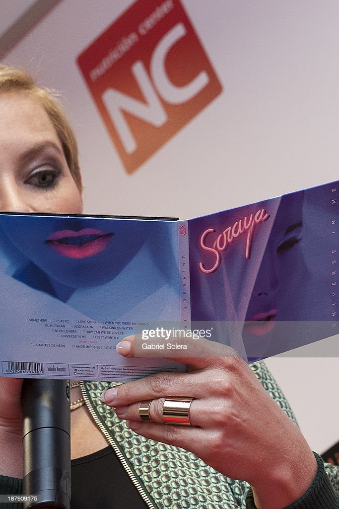 Soraya Arnelas (CD detail) presents Lipomorosil at El Corte Ingles Store on November 13, 2013 in Madrid, Spain.