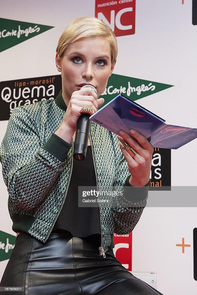 Soraya Arnelas (CD detail) presents Lipomorosil at El Corte Ingles Store on November 13, 2013 in Madrid, Spain.
